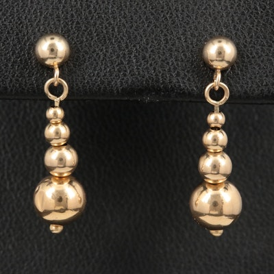 14K Yellow Gold Graduated Drop Earrings