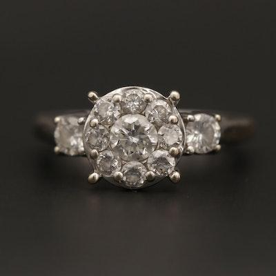 14K White Gold Cluster Ring
