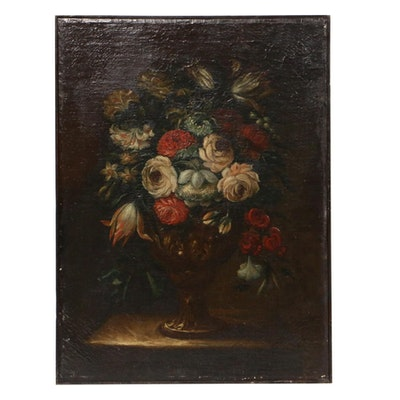 Still Life of Flowers Oil Painting, Late 19th Century