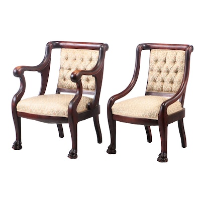 Two Empire Revival Mahogany-Stained Parlor Chairs, Late 19th/Early 20th Century