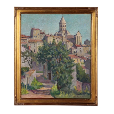 "Marion Baar-Stanfield Oil Painting ""Church of St. Saturnin"", Early 20th Century"