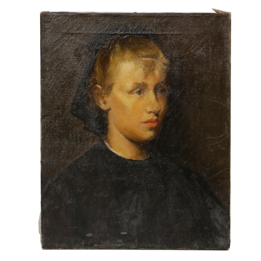 Oil Portrait Painting of Young Girl, Early 20th Century