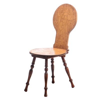 Art Nouveau Pyrography Hall Chair, circa 1900
