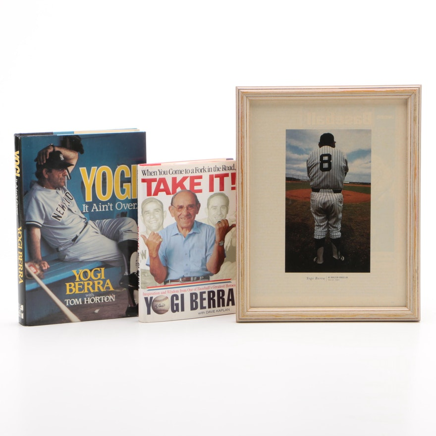 Yogi Berra Books with Framed Picture