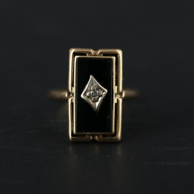 Vintage 10K Yellow Gold Diamond and Onyx Ring with White Gold Accents