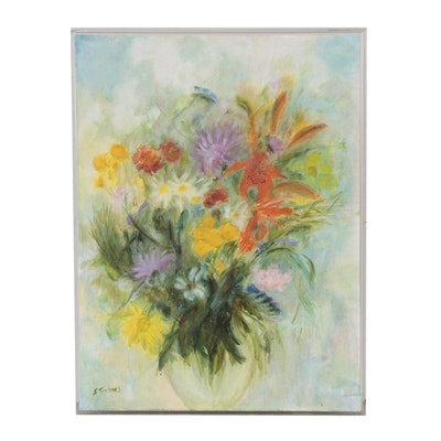 "Shirley Turner Schaffer Oil Painting ""Floral #3"""