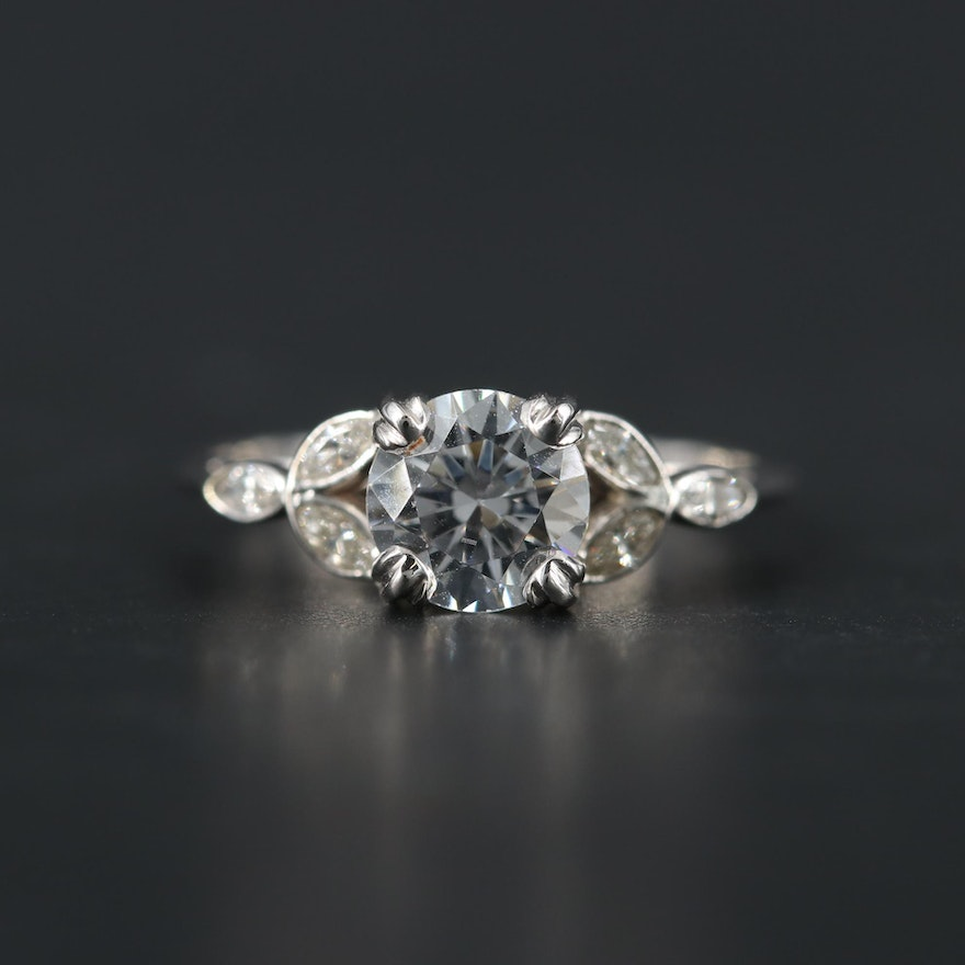 18K White Gold Cubic Zirconia and Diamond Ring