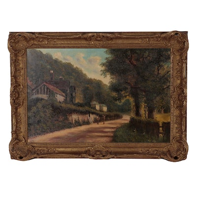 J. Lewis Oil Painting of Rural Street Scene