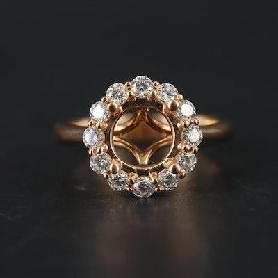 18K Rose Gold Diamond Semi-Mount Ring
