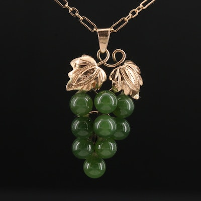 14K Yellow Gold Nephrite Grape Pendant on Ring and Connector Chain Necklace