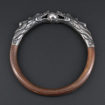 Antique Chinese Sterling Silver Bamboo Dragon Bangle Bracelet