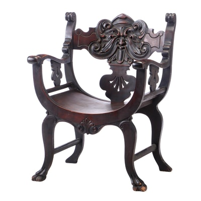 Renaissance Revival Mahogany-Veneered and Stained Curule Armchair