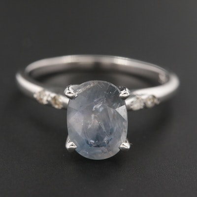 14K White Gold 2.26 CT Fancy Sapphire and Diamond Ring