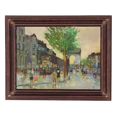 Kathleen May Oil Painting of Parisian Street Scene