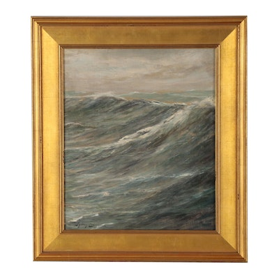 Seascape Oil Painting in the Manner of Sydney Mortimer Laurence