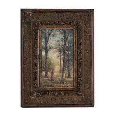Continental Oil Painting of Woman in Forested Landscape
