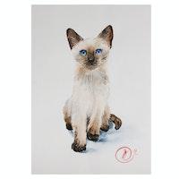 Natalia Kulikovska Watercolor Painting of a Siamese Cat