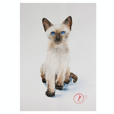 Natalia Kulikovska Watercolor Painting of a Siamese Cat