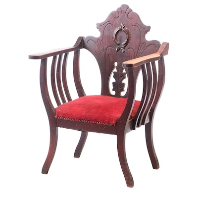 Art Nouveau Mahogany-Stained Parlor Armchair, Late 19th/Early 20th Century