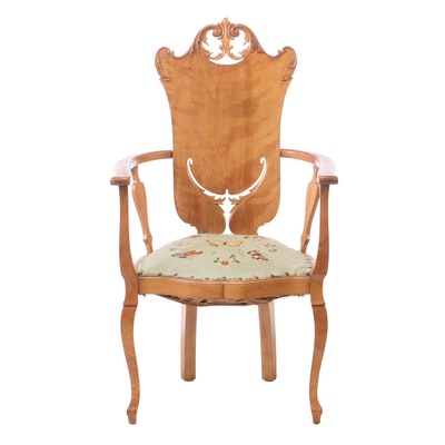 Art Nouveau Maple and Needlepoint Parlor Armchair, Late 19th/Early 20th Century