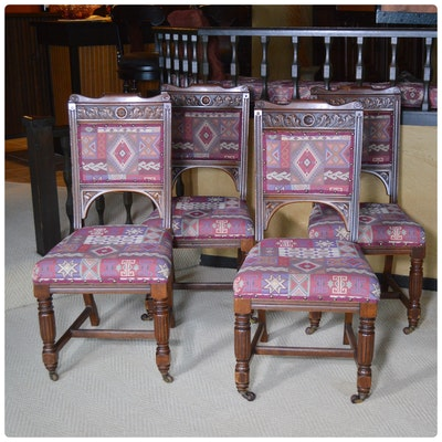 Robert Garnett & Sons Cabinet Makers Walnut Dining Chairs, Late 19th Century