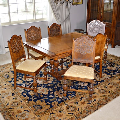 Jacobean Style Oak Dining Room Table and Chairs, Early to Mid 20th Century