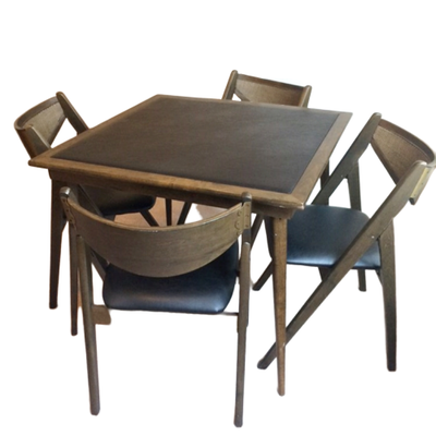 Stakmore Wood and Vinyl Folding Table and Chairs, Mid 20th Century