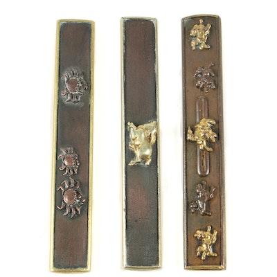 Japanese Shakudō Knife Handles, Meiji Period