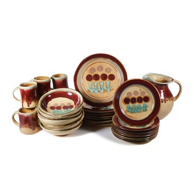 "D. Lasser Studio ""Red Tulip"" Pottery Dinnerware, Eight Place Settings, 33 Pieces"