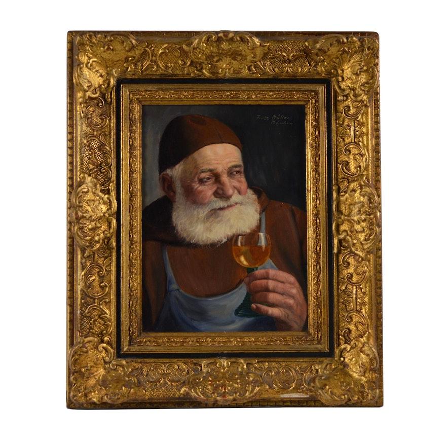 Fritz Muller Portrait Oil Painting of Monk