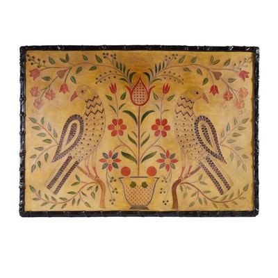 Hand Painted Embossed Leather Wall Art, 1980
