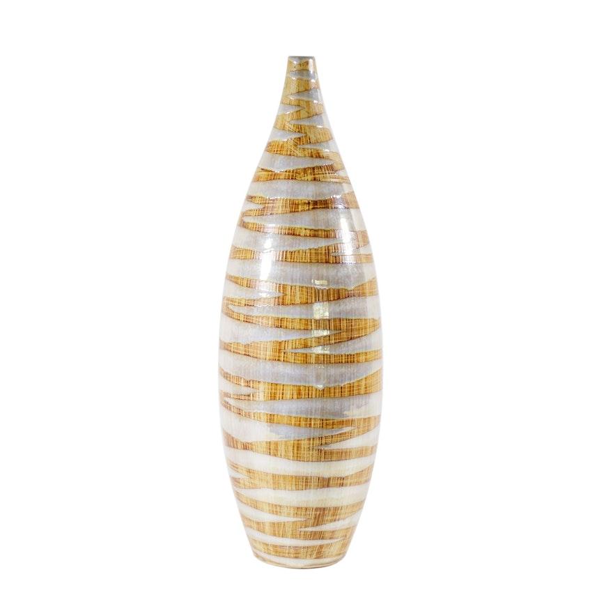 Iridescent Glazed Art Pottery Vase, Contemporary