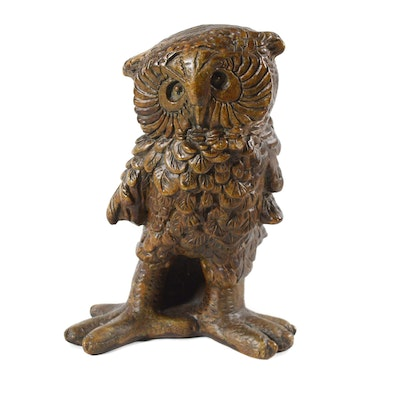 Ceramic Owl Figurine, Mid 20th Century