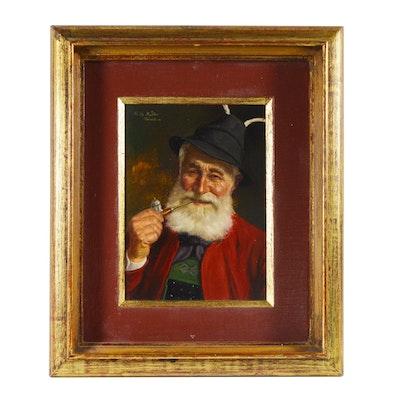 Fritz Muller Portrait Oil Painting of Pipe Smoking Gentleman