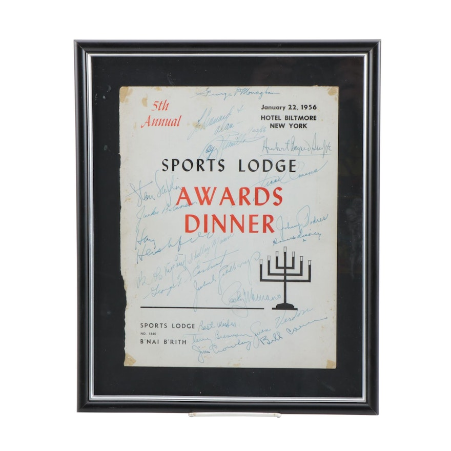 Jackie Robinson, Jesse Owens with Others Signed Awards Cover    JSA Full Letter