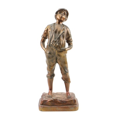 Bronze Finish Cast Metal Whistling Boy Sculpture