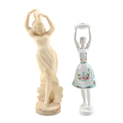 Hollohaza Porcelain Figurine with Alabaster Figurine