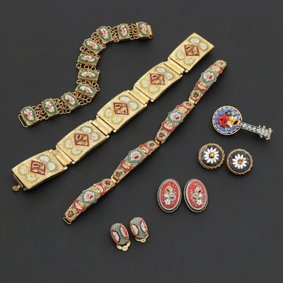 Vintage Italian Micro Mosaic Bracelets and Earrings
