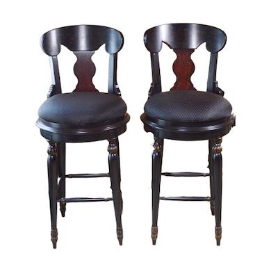 Black Painted Swivel Bar Stools, Contemporary