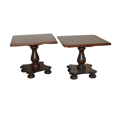 Ethan Allen Dark Stained Wood End Tables, Late 20th Century