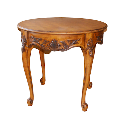 Round Fruitwood Side Table, Late 20th Century