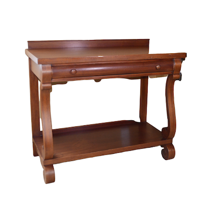 American Empire Style Walnut Console Table, Early to Mid 20th Century