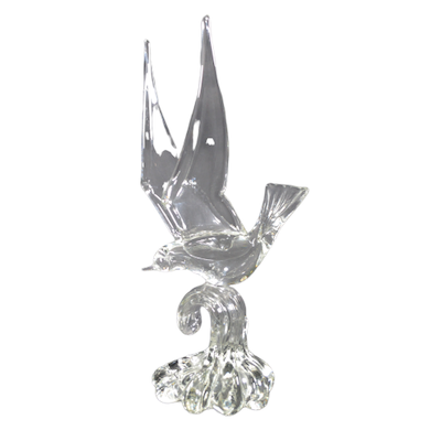 Murano Crystal Seagull on Wave Figurine