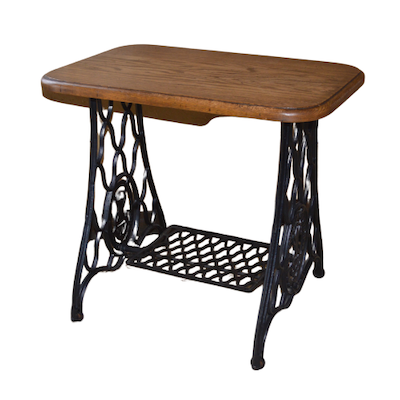 Singer Iron Base and Oak Surface Side Table, Early to Mid 20th Century