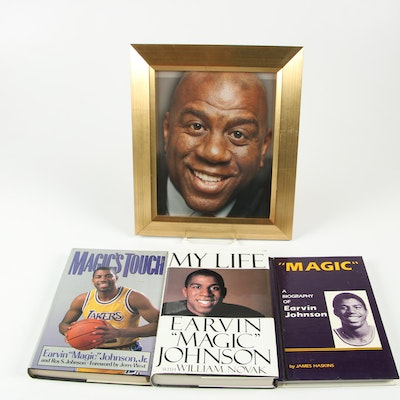 Magic Johnson Books including First Editions with Framed Photograph