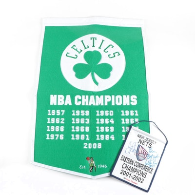 Boston Celtics Championship Banner with a Signed New Jersey Nets Banner