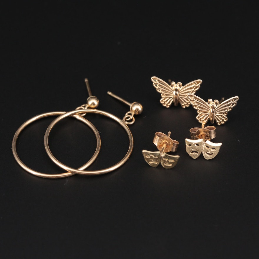 14K Yellow Gold Earrings Sets Featuring Butterfly and Theater Tragedy Comedy