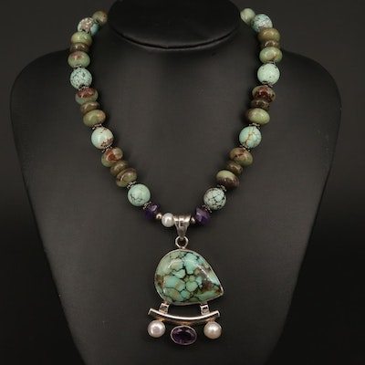 Sterling Silver Turquoise, Amethyst and Cultured Pearl Necklace