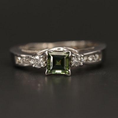 14K White Gold Diamond and Tourmaline Ring Set