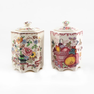 "Mason's Patent Ironstone ""Fruit Basket"" and ""Nabot"" Canisters, Circa 1940's"